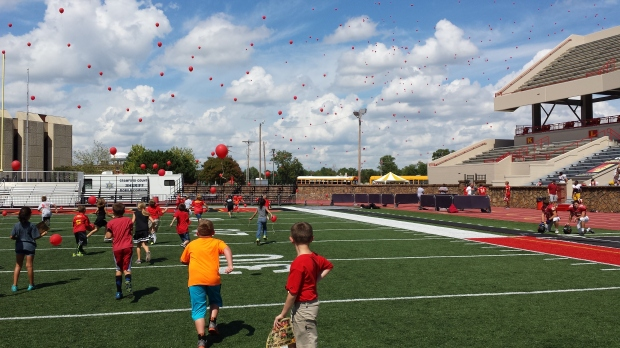 Mrs Denham and Mrs Fox's 3rd Grade classes took part in a balloon launch at Friday's Paint The Town Red celebration at Pittsburg State.