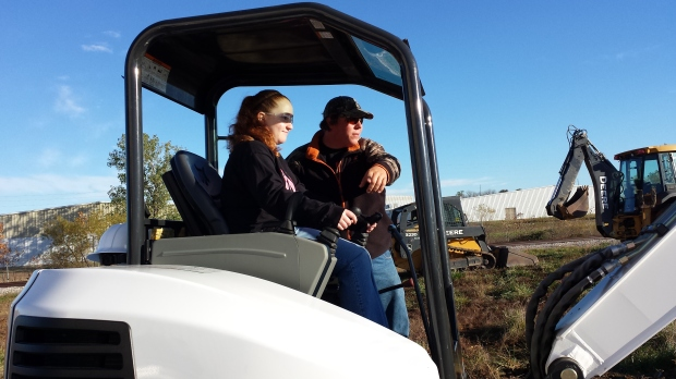 Southeast 8th grader Jessica Humble of Scammon took a turn on the Bobcat on Tuesday.