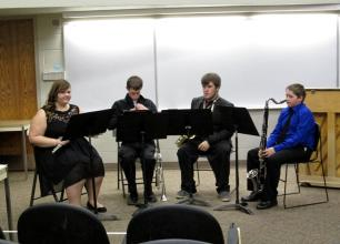 2015 04 11 at PSU Maddie Westervelt sophomore flute - Nathan Fortmayer senior trumpet - Will Chrysler junior saxophone - Kyler Spahn freshman bass clarinet - scored a II