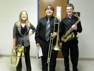 2015 04 11 at PSU - Taylor Stanley junior baritone - Bryson Spahn junior trombone - and Jamie Leeper senior saxophone - trio got a II rating - - Taylor and Jamie also played solo and got Is