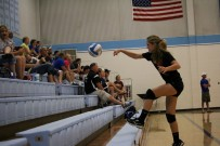 Southeast freshman Sailor Jackson chases ball during volleyball tournament (Medium)