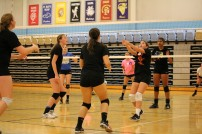 Southeast sophomore Daisy Burns sets a pass during volleyball tournament (Medium)