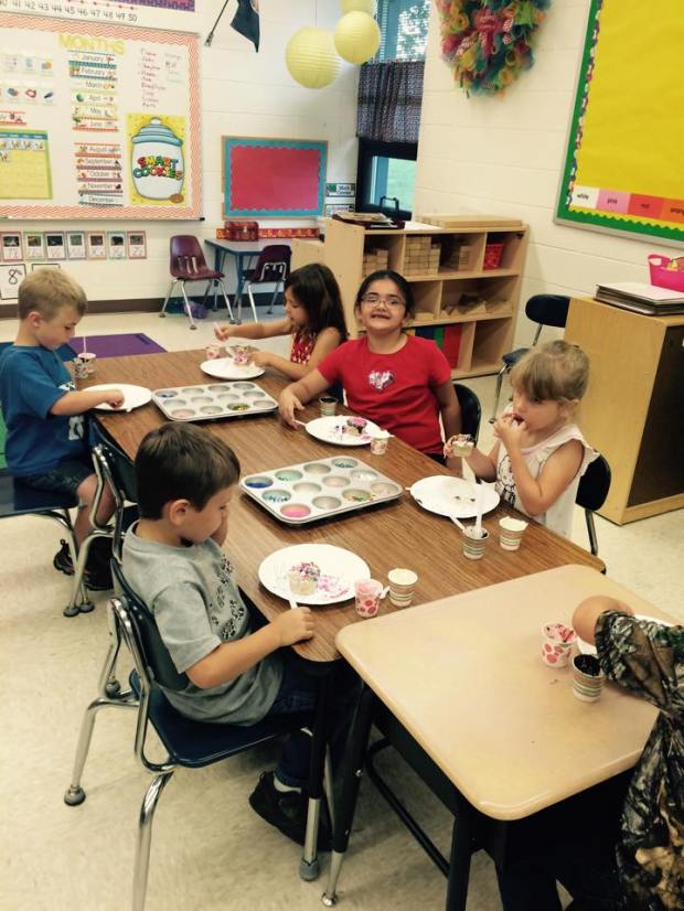It's the last week of the summer program for the elementary students and on Wednesday they celebrated by decorating cupcakes.  Photo courtesy of Cara Kubler.