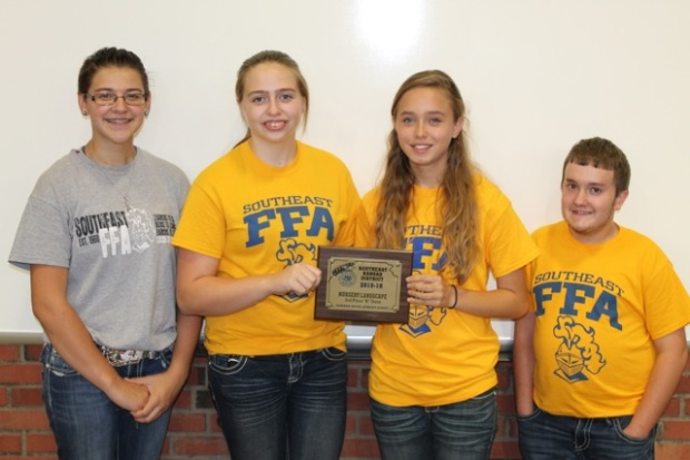 3rd Place Team, Freshman-Sophomore Division SE District Nursery-Landscape CDE: Gracee Pritchett, Wyntr Jacobs, Sarah Clausen and Brody Tickel.