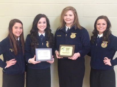 Southeast FFA at District Job Interview contest - L to R - Daisy Burns, Hannah Williams, Sara Goins and Zoey Ball