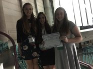 2016 04 05 FBLA State Sarah Clausen, Caitlin Low and Wyntr Jacobs