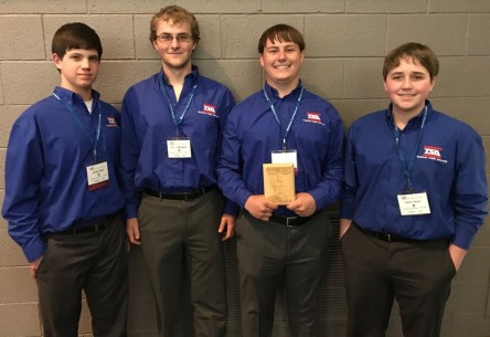 Juniors Brody Wood and Eric Underwood, senior Truman Buckley, and junior Kyler Spahn took 1st place in Digital Video Production to qualify for Nationals.