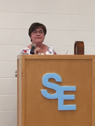 Linda Solomon is emotional as she speaks about her years of service at Southeast.