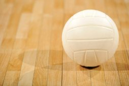 A lone white volleyball sitting on a wooden floor