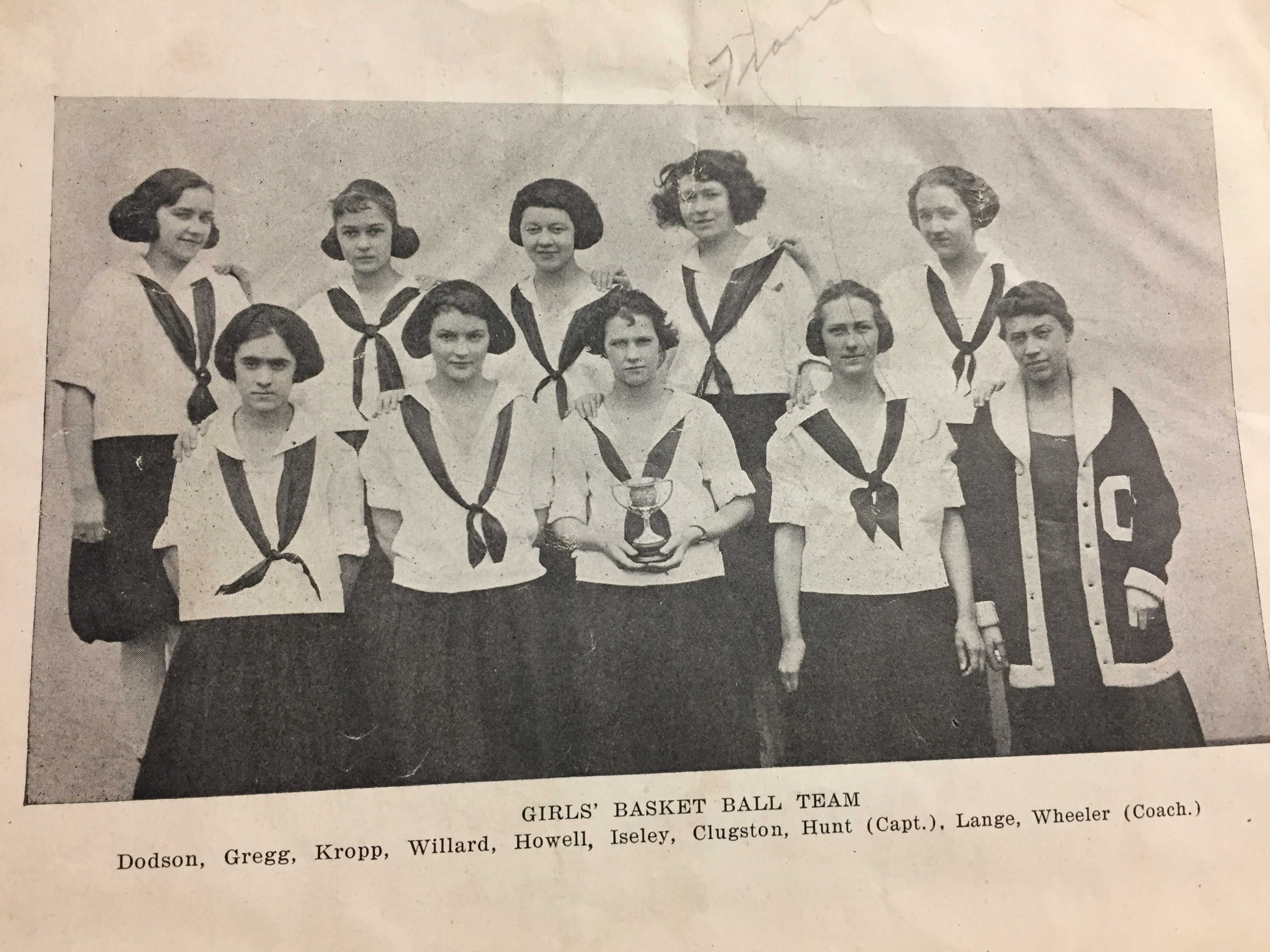 1922 Girls Bkb Team